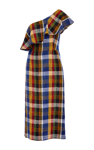 Medium suno plaid one shoulder ruffle dress