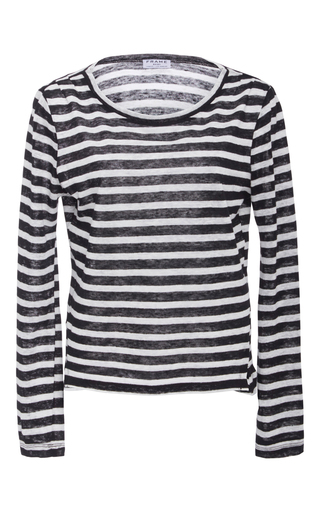 Medium frame denim stripe long sleeve striped tee