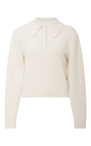 Medium frame denim white collared cableknit pullover