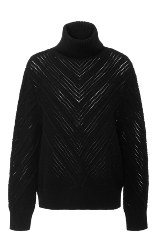 Medium frame denim black chevron turtleneck