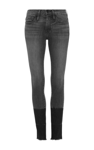 Medium frame denim dark grey le skinny released hem