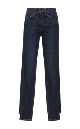 Medium frame denim dark wash le high rise skinny side step jeans