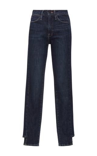 Medium frame denim dark wash le high rise skinny side step jeans