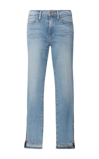 Medium frame denim light wash le high skinny raw stagger zip jeans