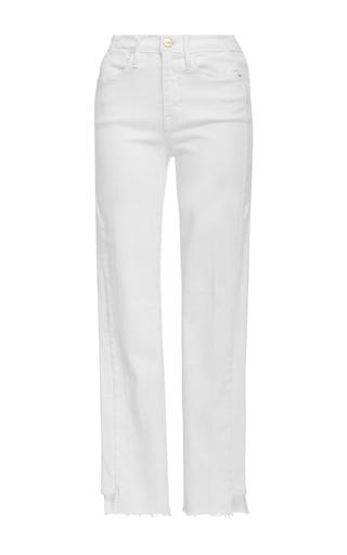 Medium frame denim white le high straight side step raw jeans
