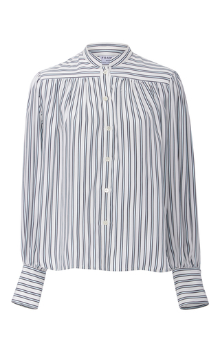 Medium frame denim stripe chloe striped blouse