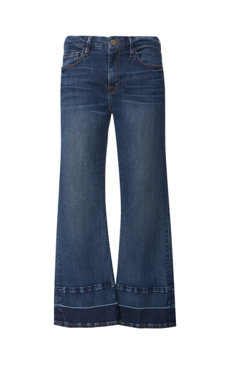 Medium frame denim dark wash le crop mid rise released hem jean