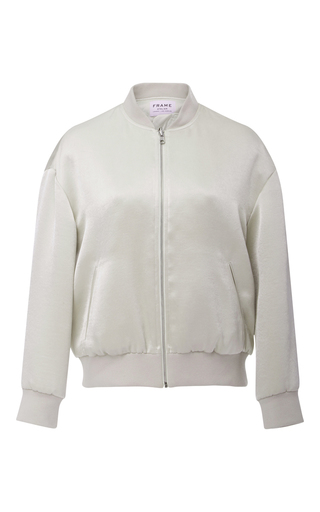 Medium frame denim silver satin bomber jacket