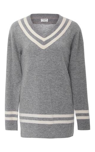 Medium frame denim light grey varsity v neck sweater