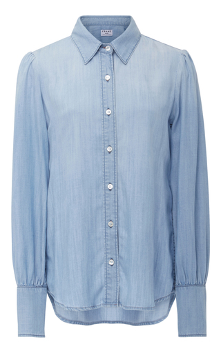 Medium frame denim light blue denim button down shirt