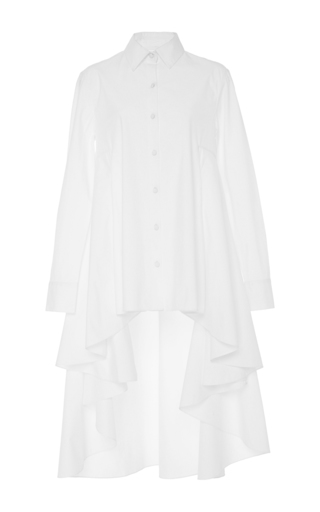 Medium co white hi low ruffle shirt