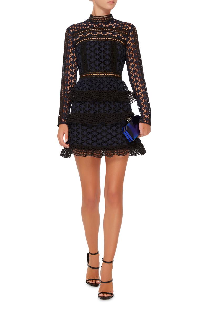 66d5c1016c2 High Neck Star Lace Dress by Self Portrait