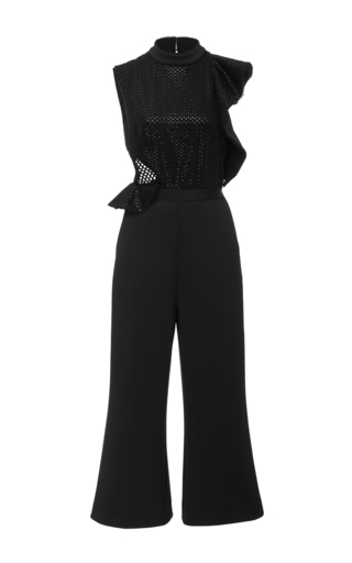 Medium self portrait black beaded sequin jumpsuit