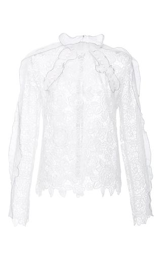 Medium self portrait white cutout floral top