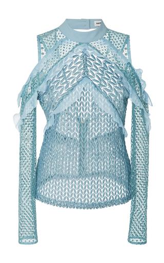 Medium self portrait blue purl knit blouse
