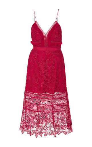 Medium self portrait red floral guipure midi dress