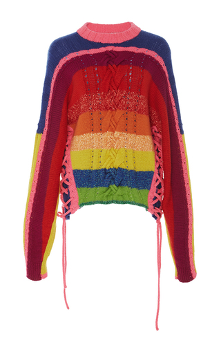 Medium spencer vladimir stripe rainbow crewneck sweater