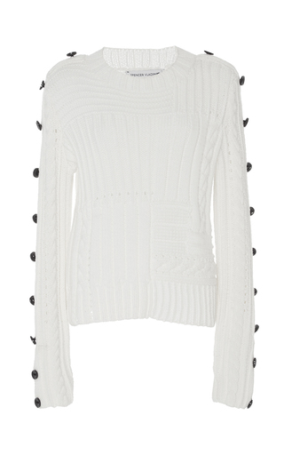 Medium spencer vladimir white tic tac toe ribbed sweater