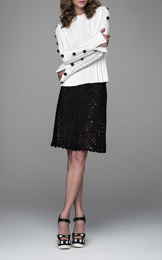 Tic Tac Toe Ribbed Sweater by SPENCER VLADIMIR Now Available on Moda Operandi
