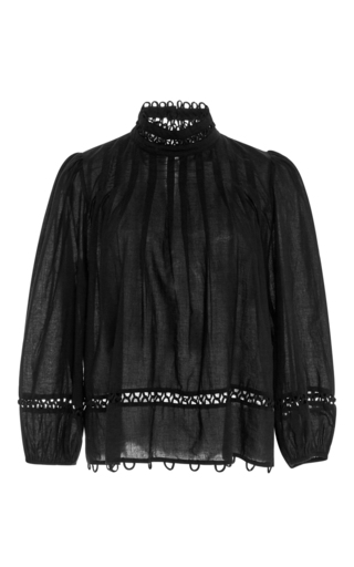 Medium apiece apart black tula sheer blouse