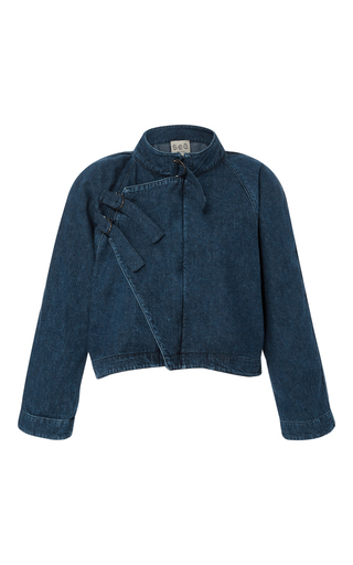 Medium sea dark wash denim tie jacket