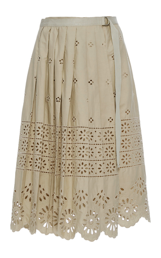 Medium sea khaki wrap eyelet skirt