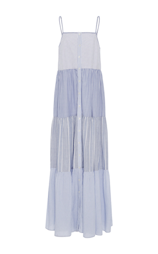 Medium sea stripe tiered stripe ruffle dress