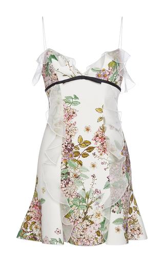 Medium giambattista valli white floral ruffled spaghetti strapped dress 2