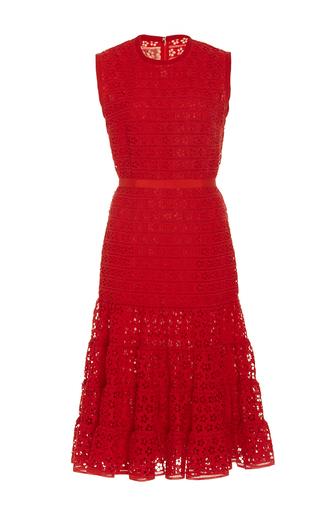 Medium giambattista valli red short sleeve floral cutwork dress 2