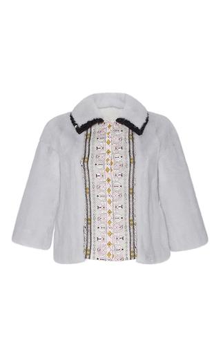 Medium giambattista valli light blue mink bolero jacket with embroidery