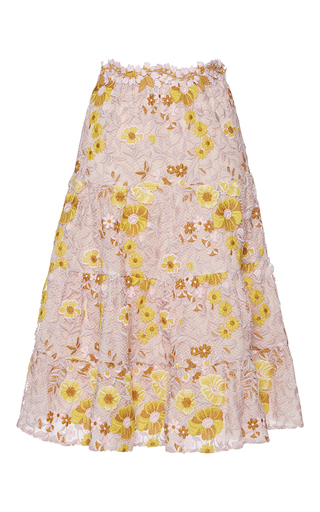 Medium giambattista valli pink floral trumpet midi skirt