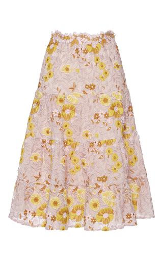 Medium giambattista valli pink floral trumpet midi skirt