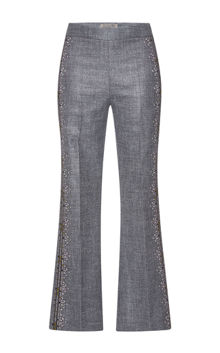 Medium giambattista valli dark grey knitted detailing flared pants