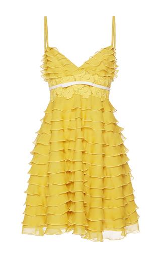 Medium giambattista valli yellow ruffle v neck spaghetti strapped dress