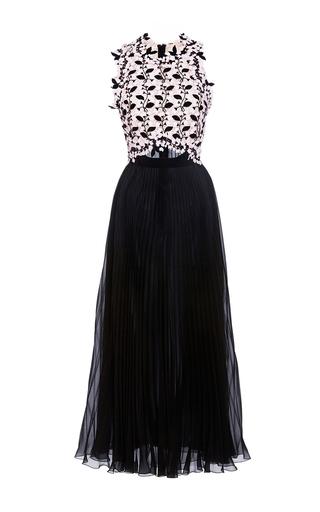 Medium giambattista valli black short sleeve eyelet leaf dress