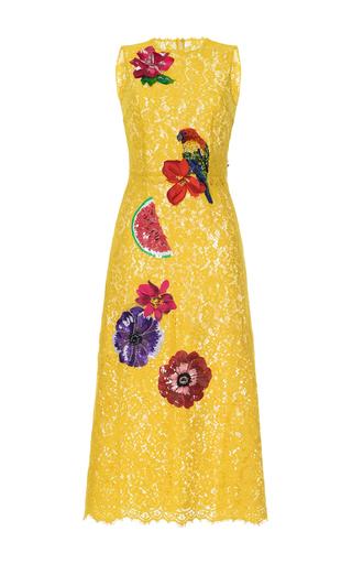 Medium dolce gabbana yellow embellished lace dress