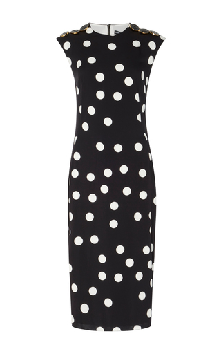Medium dolce gabbana black polka dot stretch silk dress