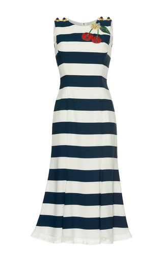 Medium dolce gabbana blue embellished striped midi dress