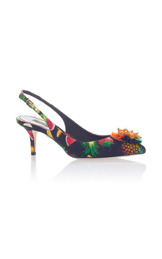 Medium dolce gabbana multi printed slingback pumps