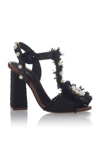 Medium dolce gabbana black embellished raffia sandals