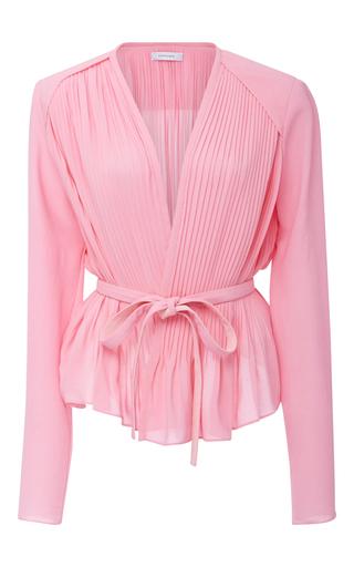 Medium carven light pink peplum wrap blouse