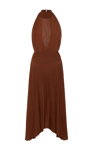 Medium a l c brown renzo pleated halter dress