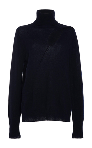 Medium a l c navy billy cutout turtleneck sweater