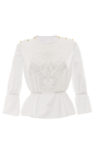 Medium francesco scognamiglio white embroidered peplum blouse