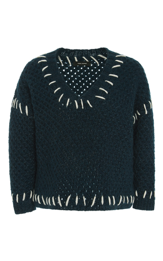 Medium isabel marant dark green goldy contrast stitch jumper