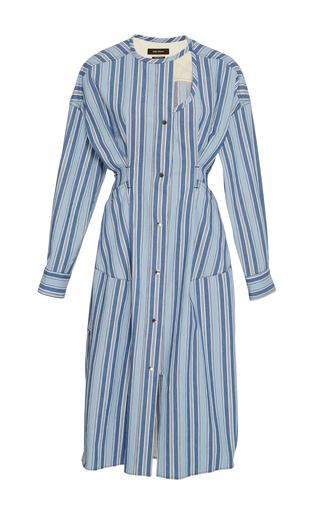 Medium isabel marant blue selby striped round neck dress