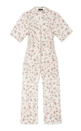 Medium isabel marant off white floral print voile jumpsuit