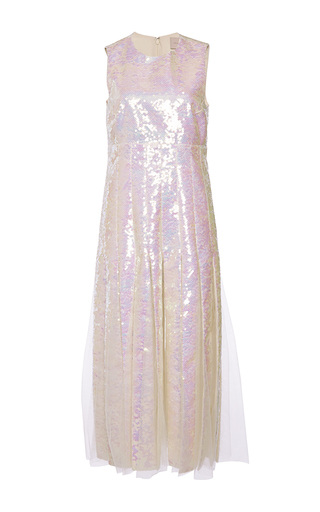 Medium christopher kane ivory sequin inserted godet dress
