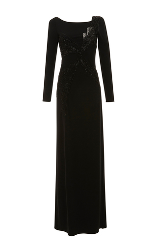 Medium emilio pucci black long sleeve embroidered dress