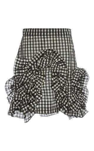 Medium msgm black white gingham ruffle mini skirt